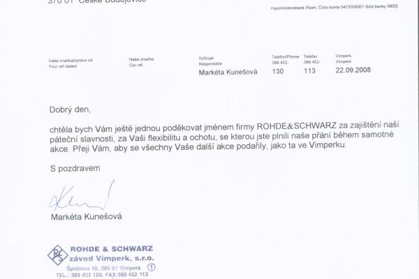Referencni dopis - ROHDE SCHWARZ